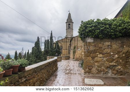 PIENZA,ITALY-APRIL 23,2016:A View of the Pienza church during a cloudy day.