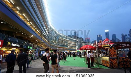 Hong Kong - April 2016: Hong Kong, Legal Gambling In Happy Valley Horse Racecourse Game, Jockey Club
