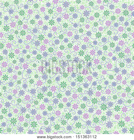 Seamless pattern with small gentle daisy flowers in pink green light violet color on white background. Can be used for wallpaper fabric wrapping paper.