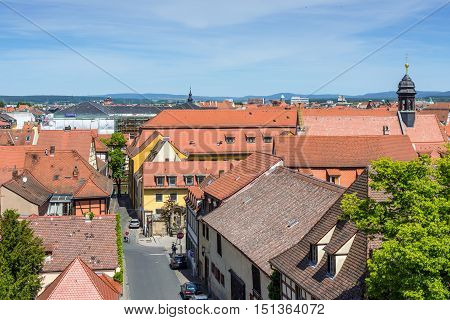 Bamberg Germany - May 22 2016: Aerial view of the old city architecture and streets of Bamberg Town in Bavaria Germany. Bamberg is under UNESCO protection.