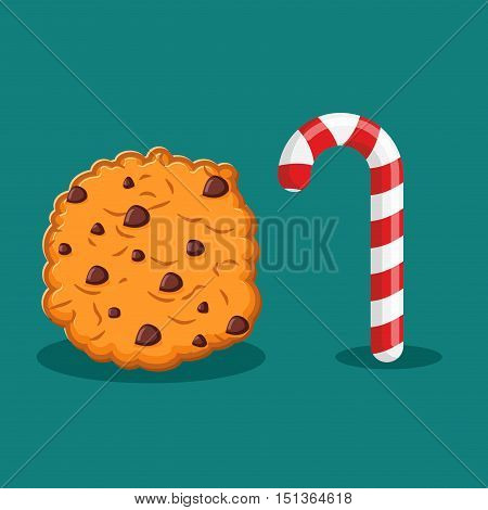 Peppermint Christmas Candy And Cookies. Food For New Year. Sweet Celebratory Delicacy. Mint Stick Lo