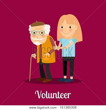 Volunteer girl caring for elderly man. Vector icon