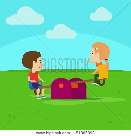 Boy and girl on playground cartoon vector illustration