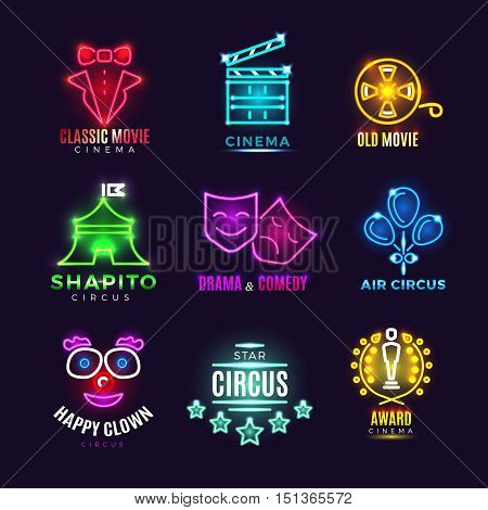 Neon circus, cinema, movie vector vintage labels. Entertainment film and award cinema illustration