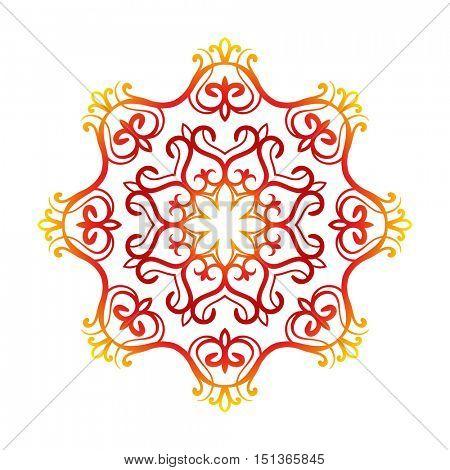 Kazakh national ornament, Isolated design element, Vector illustration