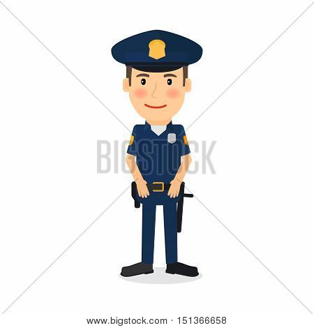 People occupation character. Policeman cartoon vector illustration