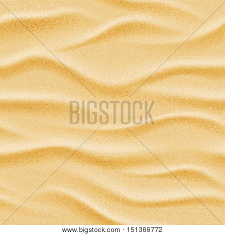 Realistic seamless vector beach sea sand background. Dry desert natural wave illustration