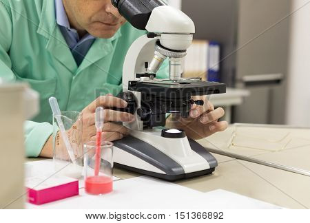 Scientific Researcher In The Laboratory With A Microscope