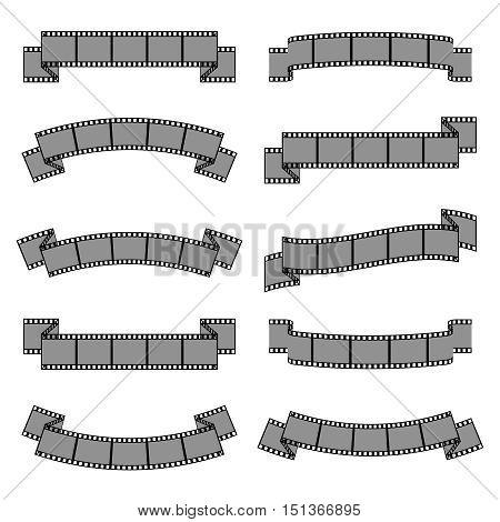 Photo film frame ribbon banners vector set. Photography negative filmstrip illustration