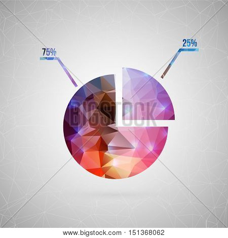 Abstract creative concept vector icon of diagram. For web and mobile content isolated on background, unusual template design, flat silhouette object and social media image, triangle art origami.