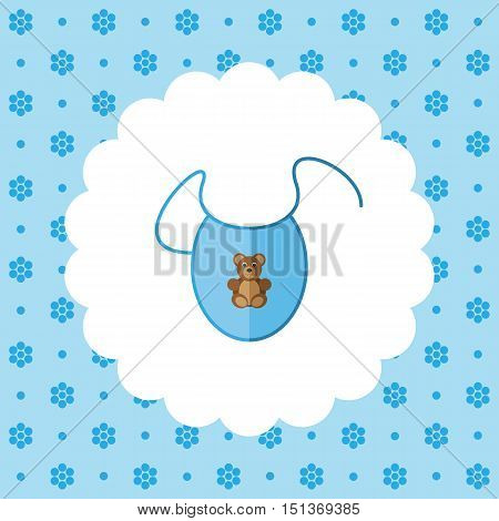 Bib. Newborn clothes. Flat vector illustration on floral pattern. Can be used for design greeting card, invitation or banner. All the elements can be used as icons for mobile applications or logos