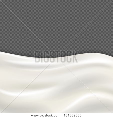 Fresh milk wave isolated on transparent checkered background. Nutrient drink yogurt or cream illustration