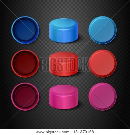 Multicolored plastic bottle caps vector set. Lids mockups for closing illustration