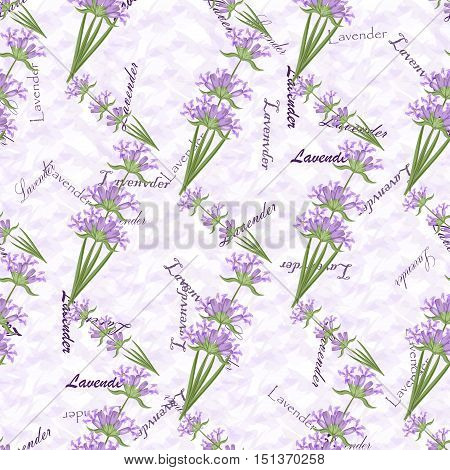 Romantic vintage seamless pattern lavender flowers. Design floral art vector texture lavender seamless pattern. Aroma graphic bouquet lavender seamless pattern herbal retro plant textile.