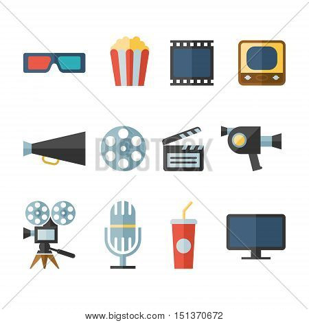 movie modern flat icons vector illustration collection with long shadow design in stylish colors of multimedia symbols, sound instruments, audio and video items and objects. I