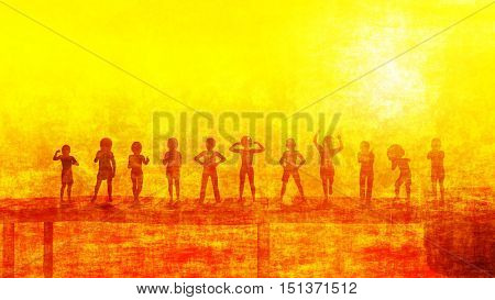 Summer Playtime Outdoors with Children Playing Outside 3D Render