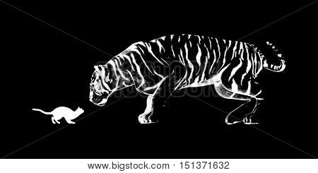 Cat Challenging a Tiger Ready to Fight or Take On 3D Render