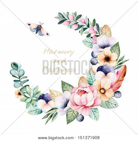 Colorful floral pastel template card with roses,flowers,leaves,succulent plant,branches,eucalyptus leaves,moth,pansy flower,feather and text.