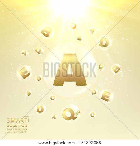 Anti-aging care of skin. Concept of cream for protection from uv rays and from ageing. Shining background with transparent bubbles with golden letters. Vector illustration.
