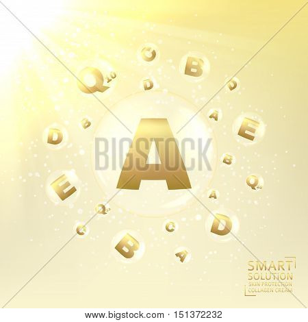 Anti-aging cosmetic care of skin. Concept of cream for protection from uv rays and from ageing. Shining background with transparent bubbles with golden letters. Vector illustration.