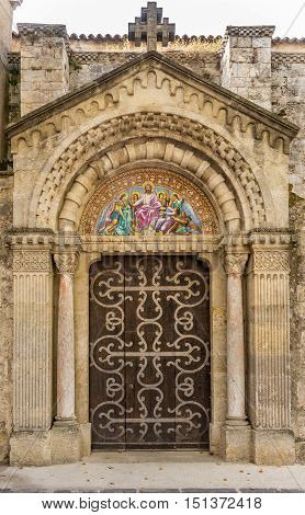Entrance to Saint Jacques church in Beziers