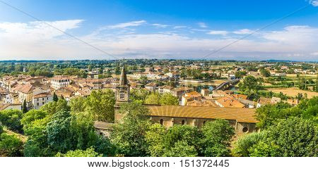 Panoramic view at the Beziers city with St.Jude church