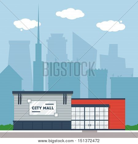Flat Supermarket Building With City Background