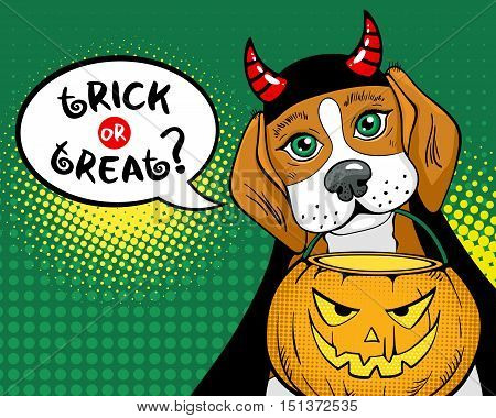 Trick or treat? Funny dog with big sad eyes and devil horns holding box for candies in form of pumpkin in mouth. Vector poster in retro comic pop art style. Halloween party invitation.