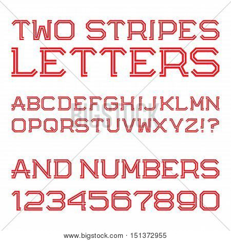 Red angular letters and numbers of two stripes. Fashion retro font. Isolated latin alphabet with figures.