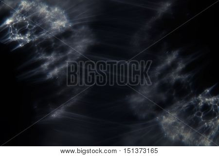 Abstract dark background with glowing white smoky threads. Abstract universe background.