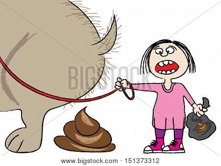 clean up after your pet funny cartoon vector illustration