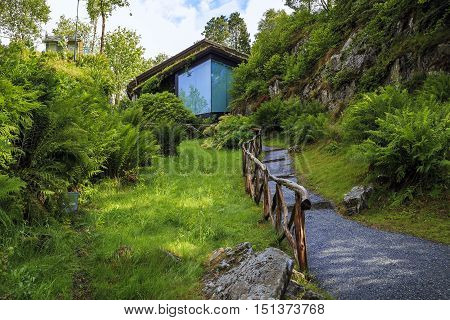 TROLDHAUGEN, NORWAY - JULY 3, 2016: It is Trolsalen - a modern concert hall with 200 seats for the performance of chamber music built on the estate of Edvard Grieg.