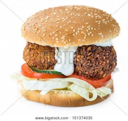 Falafel Burger Isolated On White