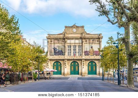 BEZIERS,FRANCE - AUGUST 27,2016 - Municipal Theatre in Beziers. Beziers is a town in Languedoc in southern France.