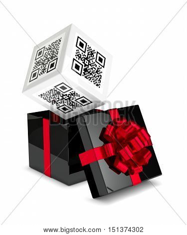 3D Rendering Of Gift Box With Discount Qr Code Isolated Over White