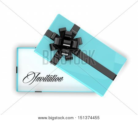 3D Rendering Of Invitation In Elegant Gift Box