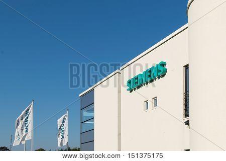 Aarhus, Denmark - September 14, 2016: Siemens Logo On Building