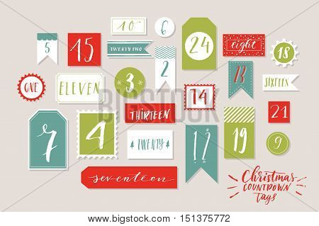 Traditional red, blue and green colored twenty four christmas countdown printable tags collection. Count down till christmas kit. Advent calendar. Vector illustration