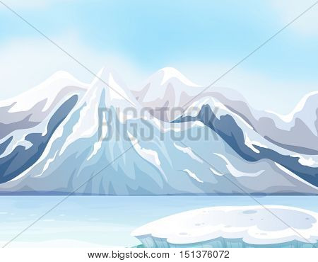 Scene with snow on big mountains and river illustration