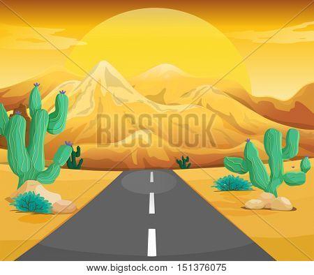 Scene with road in the desert illustration