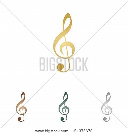 Music Violin Clef Sign. G-clef. Treble Clef. Metal Icons On White Backgound.
