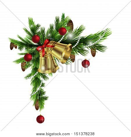 Cristmas corner decorations isolated on white with red bow