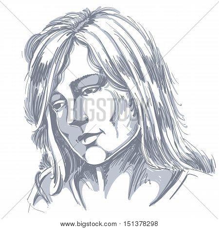 Hand-drawn portrait of white-skin sorrowful woman sad face emotions theme illustration. Beautiful melancholic lady posing on white background.