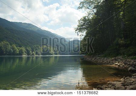 Lake in the mountains clear water volcanic origin1094 m above sea level in Montenegro national Park Biogradska Gora