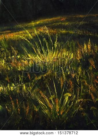detail of nocturnal meadow with grass halms, painting and computer graphic