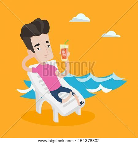 Young joyful man sitting on a chaise longue on the beach. Happy man drinking a cocktail on a beach. Smiling caucasian man on a beach with cocktail. Vector flat design illustration. Square layout.