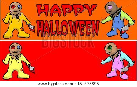 trick or treat - halloween banner with bloody kids