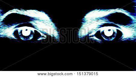 eye graphic desigh, computer collage on black background