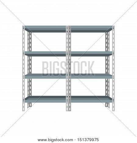 Vector blank storage steel shelf, flat design