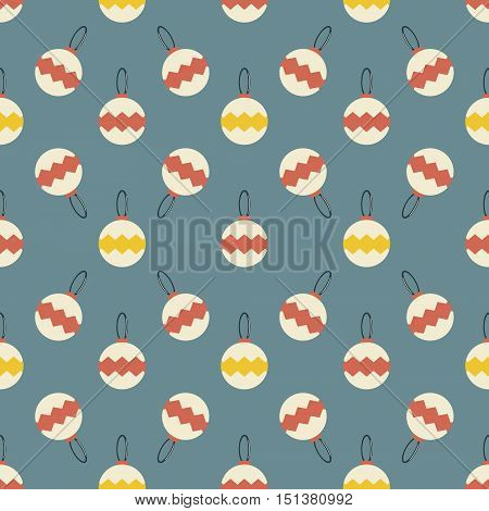 Seamless pattern of Christmas balls. Cute New Year festive background in cozy retro colors. Vector illustration for celebratory design